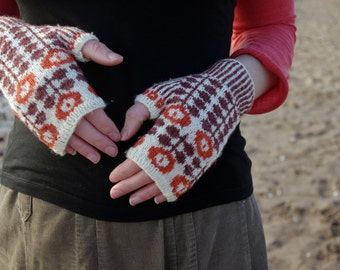 Bunty Mitts Knit Kit - Chestnut and Carotene