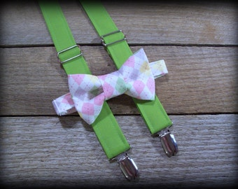 Easter green yellow pink grey bow tie suspender set - argyle bow tie - boys green suspenders- spring wedding- photo prop