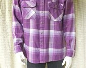 Mens purple flannel shirt Plaid button down oversized boyfriend shirt 90s grunge mens clothing Saugutuck long sleeve shirt L large