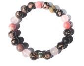 love fully. rhodonite rhodochrosite rose quartz gemstone bracelet PINK BROWN CALICO