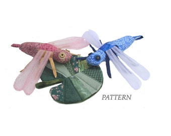 PATTERN PDF Scrap Bag Dragonfly & Lily Pad Stuffed Toy or Decoration