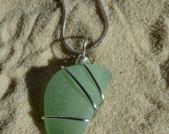 Wire wrapped seafoam green sea glass necklace with sterling silver chain
