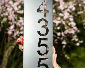 "Modern House Numbers Vertical /  6.3"" x 17.6"" (approximate) / up to 4 digits"