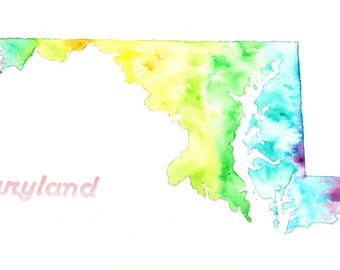 Maryland Art, Matted Fine Art Print of Original Abstract Watercolor Painting of State of Maryland Map