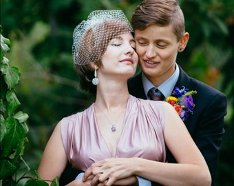 Ivory Veil, Ivory Birdcage Veil, Peach Blush Birdcage Veil, Peach Veil Wedding Veil Bridal Veil Bride's Veil White Veil Blush