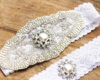 25% off Sale!  Bridal Garter Set, Wedding Garter, Lace Garter, Toss Garter, Pearl Garter, Crystal Garter, Rhinestone Garter, White, Ivory