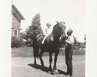 An Ohio Summer - Vintage 1940s Girl, Man and Farm Horse Photograph