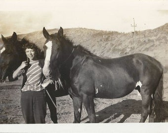Us in Stripes - Vintage 1930s Woman and Horses Silver Gelatin Print Photograph