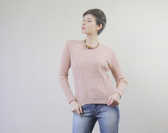 Pale salmon pink cable knit jumper sweater top
