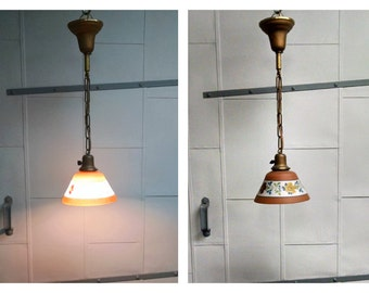 1930s Hand Painted Floral Shade Pendant Light Fixture
