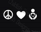 Peace Love Baby Wear Car Decal