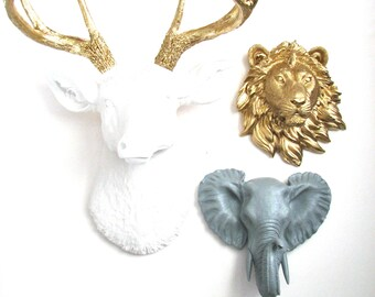 ANY color Set 1 Lrg. Deer Head + 2 small animal heads collection Choose from sm wolf bear zebra tiger lion OR elephant nursery office bundle
