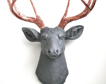 Medium GRAY w/ LITE BRONZE antlers Faux Taxidermy Deer Head wall mount wall hanging home decor:  Deerman in medium gray with bronze antlers