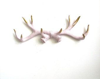 BOYSENBERRY SHERBET-Gold Tips Faux Antler Rack Wall mount hanging soft boysenberry sherbet w/ gold painted tips jewelry hanger sweater hook