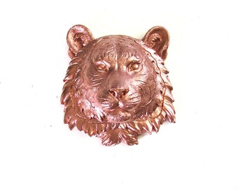 Small Faux Taxidermy Tiger Animal Head wall mount wall hanging home decor in bronze-copper Safari Animal kids room nursery home office decor