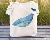 Blue Whale Fair Trade Tote Bag, Reusable Shopper Bag, Cotton Tote, Shopping Bag, Eco Tote Bag, Reusable Grocery Bag