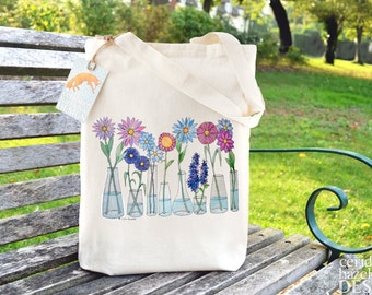 Flowers Bag, Ethically Produced Reusable Shopper Bag, Cotton Tote, Shopping Bag, Eco Tote Bag