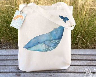 Blue Whale Tote Bag, Ethically Produced Reusable Shopper Bag, Cotton Tote, Shopping Bag, Eco Tote Bag, Reusable Grocery Bag
