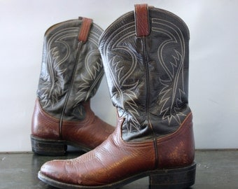 Tony Lama Black Label Two Toned Black and Brown Cowboy Western Boots sz 9