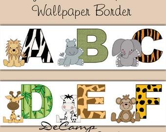 JUNGLE ANIMALS ALPHABET Wallpaper Border Wall Decals Baby ...