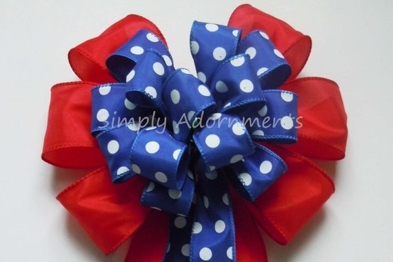 Patriotic Fourth of July Wreath Bow July 4th Wreath Bow Red White and Blue Party Decoration Independence Day Bow Election Day Bow