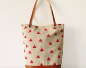 Canvas Tote bag, Geometry, Red Triangles, Book bag, Shopping bag, Casual tote, School bag, Toffee