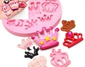 Set of 7 Crowns Mold 445L Silicone Mold Cake Topping Fondant Sugarpaste Chocolate Decoration fimo BEST QUALITY