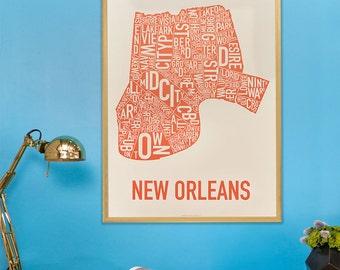 New Orleans Neighborhood Map Poster or Print, Original Artist of Type City Neighborhood Map Designs, Typography Map Art