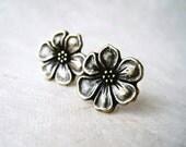 Bronze Flower Earrings Antiqued Rustic Bohemian Apple Blossom Post Earrings. Flower Stud Earrings. Unique Metal Flower Earrings.
