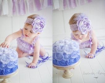 50% OFF SALE Baby Infant Newborn Girl Singed Satin Boutique Headband Lavender White Lace Vintage Smash Cake Photo Prop OTT