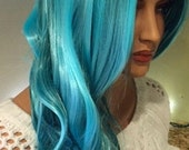 Tallulah // Long Teal Turquoise Blue Curly Luxurious Wig Synthetic Hair