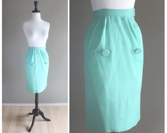 Mint Green Vintage 1950s New Look Pencil Skirt / 1940s 1960s