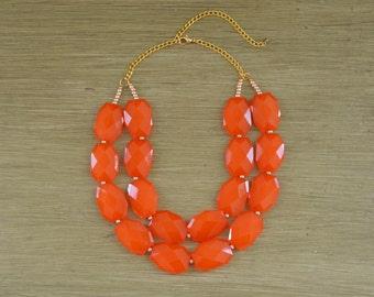Double Strand Orange Layered Statement Necklace - Chunky Orange Bead Necklace - Double Layer Bib - Burnt Orange Necklace Auburn Clemson