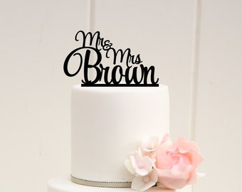 Wedding Cake Topper Monogram Mr and Mrs Topper Design Personalized with YOUR Last Name - 0045