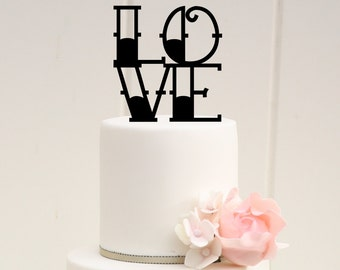 Tattoo Style LOVE Wedding Cake Topper Custom Design - 0168
