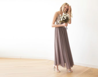 Tulle maxi taupe bridesmaids skirt , Maxi tulle taupe skirt