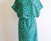 Polka dot dress summer dress woman casual summer dress knee length dress sleeveless green black modern dress