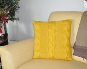 Mustard Yellow Pillow Case 20X20 Square Pillow Knit Pillow Cable Pillow Case