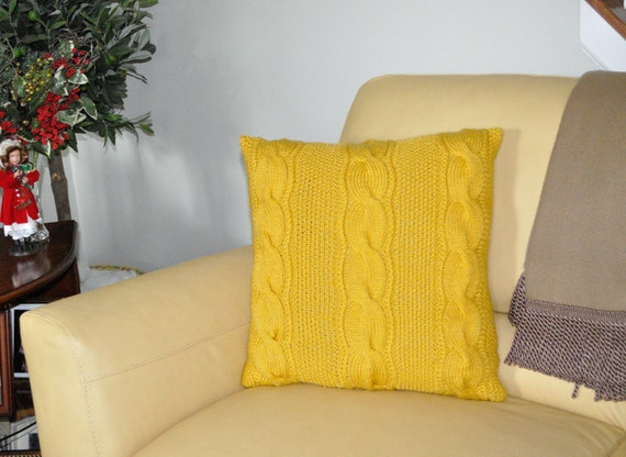 Yellow pillow case 20x20 square pillow knit pillow cable pillow case