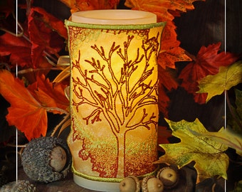 Blazing Autumn Tree Embroidered Candle Wrap For LED Flameless Pillar Candles.