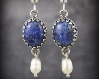 Sodalite and freshwater pearl sterling silver earrings