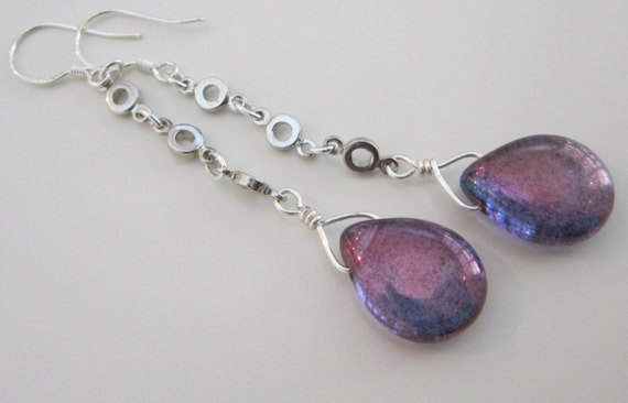RESERVED FOR PAM - Lavender Teardrop And Silver Chain Earrings