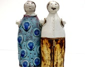 Ceramic Sculpture Happy Couple , Wedding Gift, Brother And Sister , Friends, Home Decor