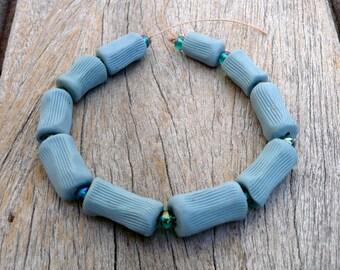 Ceramic Bead Set, Seashore Bead Set,  Blue Freeform Tube Bead Set, Colored Porcelain Beads ,   Jewelry Supplies