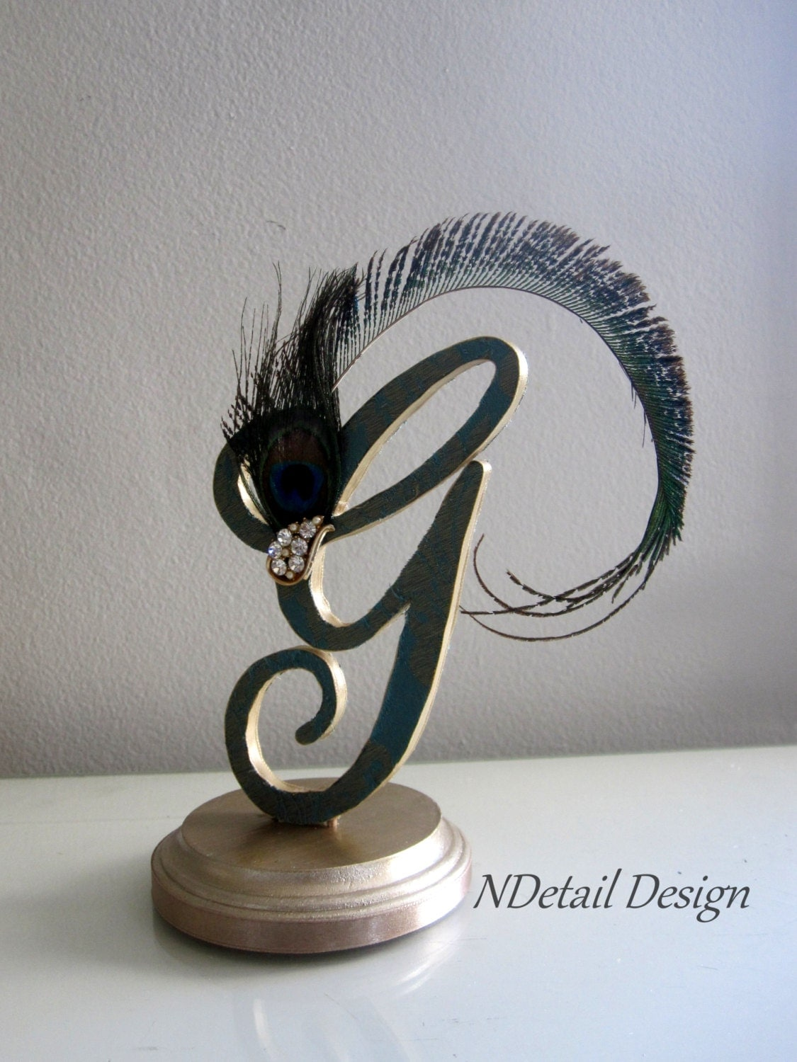 Art Deco Monogram Cake Topper : Peacock Toppers Wooden Letters Monogram Cake Topper Gatsby
