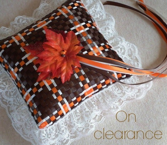 Fall ring bearer pillow, orange, brown, ivory satin with leaves, autumn themed wedding colors, ivory lace trim, fall wedding