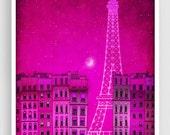 The lights of the Eiffel tower, pink - Paris illustration Art Illustration Print Poster Prints Paris decor Home decor Architectural drawing