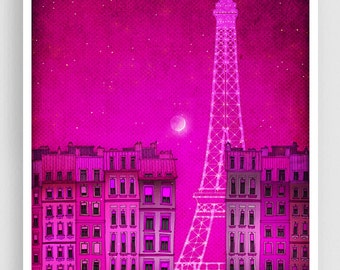 The lights of the Eiffel tower, pink - Paris illustration Art Illustration Print Poster Prints Paris decor Home decor Architectural drawing