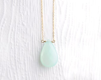 Faceted Peruvian Chalcedony Teardrop Necklace in 14k Gold Filled