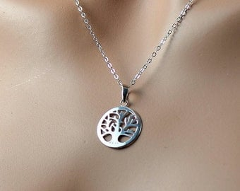 All Sterling Tree Of Life Circle Necklace, Dainty Sterling  Necklace Minimalist Tree Life